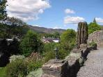 We have a panoramic view overlooking Pitlochry and the surrounding valley from the terrace