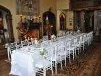 The Great Hall set up for a formal dining affair.