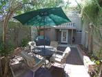 Private back patio with gas grill