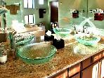 Master Bath- Spa Tub and sep. Shower Even the bathroom has views.