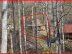 View from road above depicting room to play!  Cabin is circled.