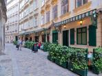 The Kurrentgasse, a picturesque pedestrian street, our building on the back