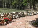 A large socialable flagstone patio area