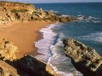 Beach and steep coast