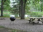 Bonfire ring, BBQ and picnic table area