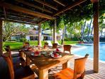 Pool side alfresco dining deck