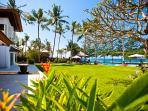 Spacious beachfront lawns