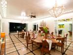 Dining room with impressive solid-wood table