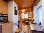 The well equipped, small kitchen is sure to satisfy the ambitious cook! Sorry, no dishwasher!