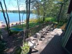 Deck overlooking beach and lake