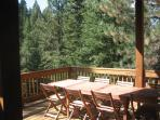 Picnic table on deck with chairs for 10