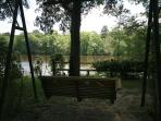 One of many swings to enjoy on property with a maganificent view of the river