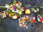Offerings at the gate.
