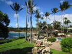 Lawn, oceanfront pool area, The Gazebo Restaurant and Napili Bay