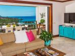 L509 Sandcastles Suite Spacious Great Room with Gourmet Kitchen with Five Bar Stools, Indoor Dining Table Seats Eight...