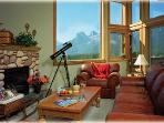 Great Room - With fireplace and view to Three Sisters Mountain Range