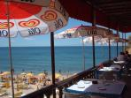 Albufeira beach and cafe