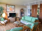 Comfortable family room with TV and Lanai