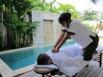 Massage by the pool...