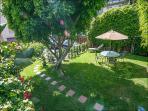 Large Garden/Yard - gated parking beyond tree