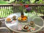 breakfast on the main house back porch - fruit and coffee provided, the rest is up to you