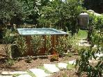 Hot tub with Jets set in private garden amidst fruit trees, enter through enchanting arbor to relax!