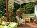 Dine or relax on covered porches
