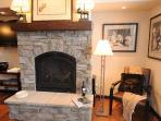 Great fireplace and flatscreen television in the beautiful living room