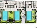 Upper level floor plan - 3 villa view