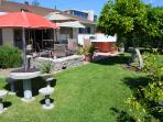 Beautiful Back Yard with view of Disneyland Hotel in the Background