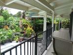 View of garden from upper lanai