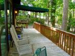 Spacious deck with porch rockers