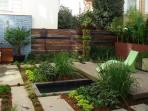 backyard pond and deck