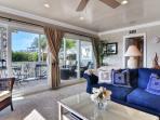 Spacious deck adjoins living room