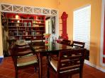 Inside dining and library with many vintage west Indian & other great books.