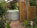 Outdoor shower with hot and cold water, and private hot tub
