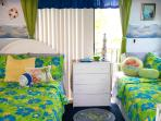 Cabana Bedroom is next to the Pool, and has Full & Twin bed.  Linen choices for children or adults.