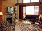 Large comfortable living area with wood burning fireplace (firewood supplied)