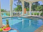 fabulous pool area with dining, kitchen and bar