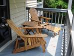 Mid-level deck with access to two bedrooms.