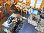Overhead view of kitchen/dining area