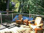 Private Deck off Tower Bedroom Open and Sunny Looks Down on Stream 25 Feet Below