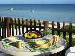 Breakfast on our beachfront terrace