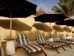 sun loungers by the club pool