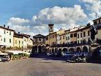 The piazza, Greve in Chianti - our charming local town