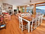 Living and dining areas with spectacular river view