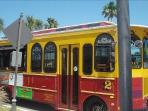 Ride the trolley all over the beach.