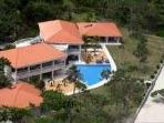 Villa Champagne Aerial highlighting the two guest wings and the adjoining Cabanas