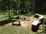 Half Log Bench Offers Seating for 12+