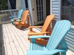 Four oversized and ergonomically correct adirondack chairs for enjoying the ocean views!